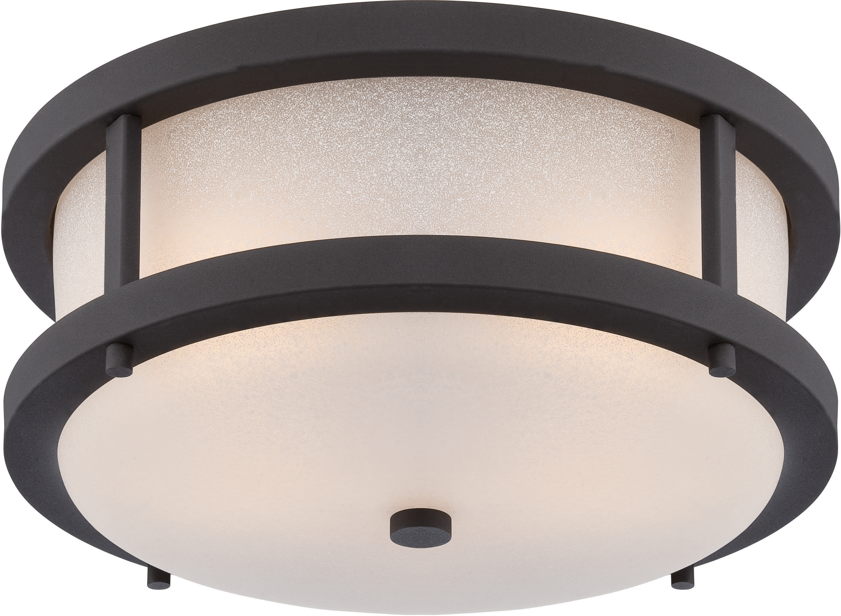 Home Fixtures Nuvo Lighting 62 653 2 Lights 14 Textured Black Outdoor With Antique White Gl Transitional Style Fixture
